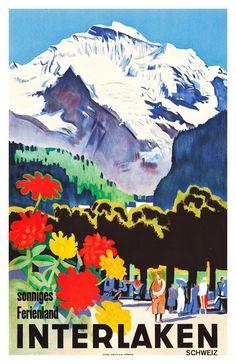 Interlaken Switzerland Vintage Travel Poster 1930 by WallArty