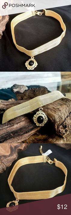 Lovely Gold-tone Choker Necklace This beautiful gold-tone choker necklace gives your outfit a vintage flair. It is adjustable to fit most size necks. Jewelry Necklaces