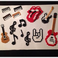 Music stuff hama beads by frk. Perler Bead Designs, Hama Beads Design, Diy Perler Beads, Perler Bead Art, Pearler Beads, Melty Bead Patterns, Pearler Bead Patterns, Perler Patterns, Beading Patterns
