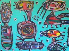 David Larwill Bird Talk OLSEN IRWIN stockroom. The Gallery represents established artists such as John Olsen, as well as nurturing maturing and emerging artists.