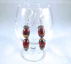New to EclecticDesigns on Etsy: Red Gold Beaded Earrings with Fancy Handmade Bali Silver Painted Earrings Red Earrings Bali Silver Beaded Earrings Christmas Earrings (10.00 USD)