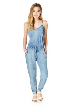This one piece denim pants outfit by @justfabonline is a must in my closet this spring. #fabshonista