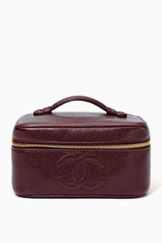 Vintage Chanel Burgundy Leather Vanity Bag.