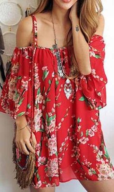 Red Spaghetti Strap Sakura Floral Print Dress