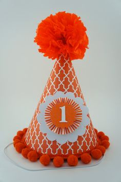Orange Party Hat Pumpkin Party Hat Orange by LibbysPaperPartyHats, $17.50