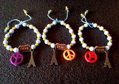 gelang peace, love, paris