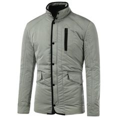 23.61$ Watch now - http://dixef.justgood.pw/go.php?t=199995401 - Flap Pocket Stand Collar Quilted Jacket 23.61$
