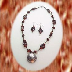 Jasper Chip and Octagon Bead Necklace with Shield Pendant
