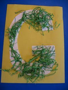 Letter G - alphabet crafts Preschool Letter Crafts, Alphabet Letter Crafts, Abc Crafts, Alphabet Book, Preschool Ideas, Letter Art, Number Crafts, Preschool Winter, Daycare Ideas