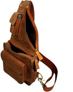 65a64cdda40f Mens Genuine Leather Buniess Crossbody Chest Pack Sling Backpack Shoulder  Bag Leather Backpack For Men