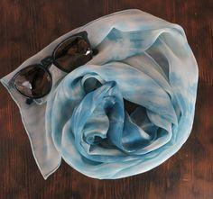 Aizome Indigo Shibori  silk scarf