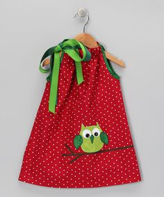 a look at this Muckety Mucks Red & Green Owl Bow Dress - Infant, Toddler & Girls by What a Hoot: Owl Apparel & Accessories on today! Toddler Outfits, Kids Outfits, Toddler Girls, Infant Toddler, Children's Outfits, Sewing For Kids, Baby Sewing, Little Girl Dresses, Little Girls