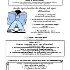 This document is a study guide for the literary device of alliteration.  It includes examples, exceptions, and a guide for how to write your own al...