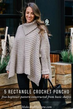 Crochet Poncho With Sleeves - Free Pattern Made From Easy Rectangles This easy crochet poncho with sleeves is a great free pattern for beginners because it's made entirely from basic rectangles. Free pattern and tutorial featuring Lion Brand yarn. Crochet Poncho With Sleeves, Poncho Crochet, Crochet Jacket, Crochet Mandala, Mandala Pattern, Crochet Stitches, Poncho Pullover, Poncho Sweater, Knitting Patterns Free