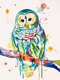 Night Owl Print by KristinDouglasART on Etsy