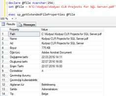 shows how to read file properties using sql clr stored procedure created by using given visual studio clr project code samples for database programmer - Sql Programmer