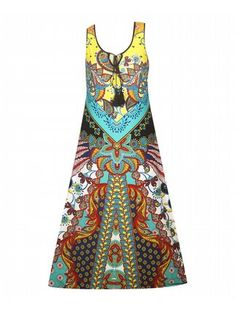 Colorful Print Maxi Dress