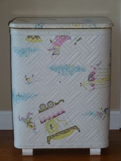Baby Clothes Hamper, Circus Motif, Vintage 1970's. I still have it in my laundry room.