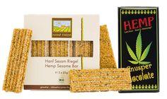 Výborné produkty spoločnosti Hempro Int. Sladkosti z konope. Chrumkavá čokoláda, konopné semienka v mede a pod. Banner, Bread, Food, Banner Stands, Brot, Essen, Baking, Meals, Breads