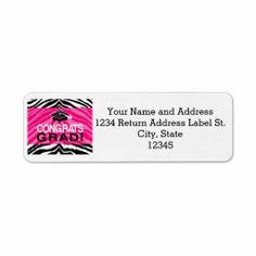 Personalized Pink Black Zebra Graduation Party Custom Return Address Labels #classof2014 #graduation #gradparty @Zazzle Inc.