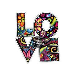 Love Car Decal Colorful Design Bumper Sticker by MeganJDesigns Art Hippie, Hippie Love, Boho Hippie, Hippie Peace, Love Stickers, Laptop Stickers, Bumper Stickers, Cute Car Decals, Foto Transfer