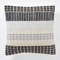 Margo Selby Woven Block Pillow Cover - Slate #westelm