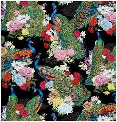 Peacock print designer fabric per yard/ from Elizabeth's studio fabrics/ Quilting/ Apparel/ Decor Peacock Quilt, Peacock Fabric, Peacock Theme, Fabric Decor, Fabric Design, Wall Design, Print Design, Cotton Crafts, Pretty Birds