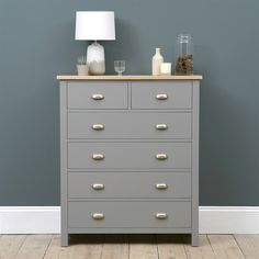 Simply Cotswold Storm Grey 2+4 Chest of Drawers - The Cotswold Company Green And White Bedroom, Blue Grey Walls, Pine Furniture, Furniture Makeover, Living Room Furniture, Grey Chest Of Drawers, Painted Chest, Maximize Space, New Living Room
