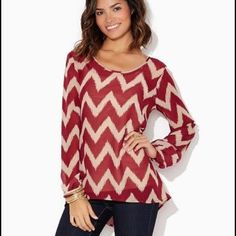 Charming Charlie Red Chevron Top Red chevron top from charming Charlie!! Cute shirt, no wear visible!! Charming Charlie Tops Blouses