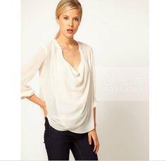 2015Summer-wear-Womens-Casual-chiffon-shirt-Big-U-collar-shirt-blouse-Ladies-blusa-renda-feminine-tops.jpg (771×750)