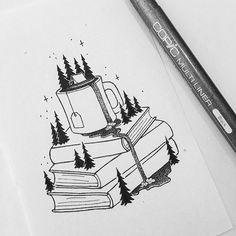 Heureux Mo - Book and Coffee Pencil Art Drawings, Cool Art Drawings, Doodle Drawings, Art Drawings Sketches, Doodle Art, Easy Drawings, Stylo Art, Desenho Tattoo, Ink Illustrations