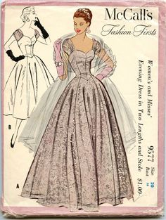 1950s McCalls 9577 Fashion Firsts Pattern Evening Dress in Two Lengths and Stole Bust 38. $95.00, via Etsy.