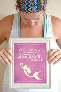 In Blue <3 Mermaid Art Print, EE Cummings Quote Poster, Mermaid Nursery Sign, Mermaid Girl Art 8 x 10