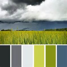 Spring Colour Schemes - grey, green and steel with white for sharpness