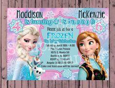 Frozen Invitation - Frozen Birthday Invitation - Disney Frozen digital file - Twin Frozen Invitation - Joint Frozen Birthday by PoshPaisleyBoutique on Etsy https://www.etsy.com/listing/197899307/frozen-invitation-frozen-birthday