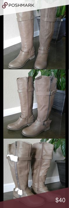 Tall Riding Boots My online shopping loss, your gain! These vegan leather boots are a terrific taupe color and will complement any Fall or Winter ensemble. They hit just below the knee and flare out like a cowboy boot. Super cute. Sadly, they don't fit me right, and must go - NWT. Shoes Heeled Boots