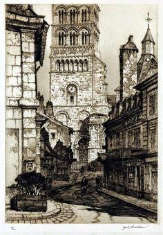 Samuel Chamberlain (1895-1975-American) - Sainte Croix Notre Dame - La Charite-sur-Loire - 1930