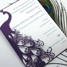 Laser Cut Peacock Wedding Invitation Pocket - Etsy
