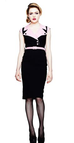 A gorgeous 50's inspired stretch rayon pencil dress that is sure to turn heads! Wide pink lapel collars and pink edged cap sleeves. Invisible zip to back plus pink button fastenings to front. Adjustable belt to clench in the waist and split back for ease of movement.