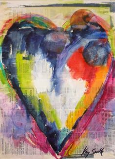 Blue Denim Heart, painting by artist Kay Smith