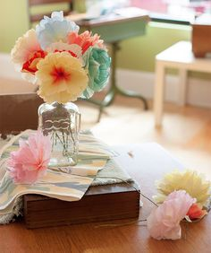 DIY: Hand-Dyed Paper Flowers | http://adventures-in-making.com/diy-hand-dyed-paper-flowers/