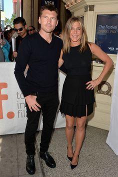 "Sam Worthington and Jennifer Aniston looking classic at the ""Cake"" premiere - TIFF Fashion"
