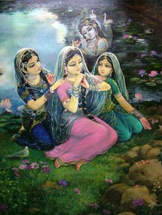 Radha Rani relates, to the best of Her ability, the exquisiteness of Shri Krishna to Her friends. The perfect depiction of a true Lover and devotee, Radha Rani conveys a message of great importance: there is no relationship more beautiful, powerful, or beneficial than a relationship with God.