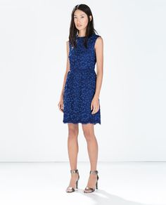 Image 1 of LACE DRESS WITH WAIST SEAM from Zara