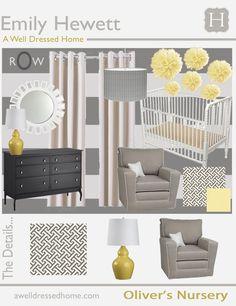 Grey white yellow nursery gender neutral