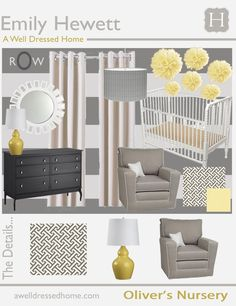 Grey white yellow nursery gender neutral