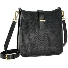 Black Elle Cross-body | Embossed Python Leather | GiGi New York