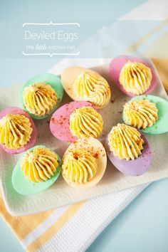 I love these Easter colored deviled eggs from @Julie Forrest at The Little Kitchen