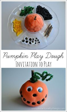 Pumpkin Play Dough Invitation to Play from I Heart Crafty Things -- Make a Jack-o-Lantern with Playdough.