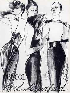 Fashion illustration by Antonio, 1972, Karl Lagerfeld Couture, Textile Bucol.